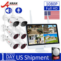 """ANRAN 1080P HD Audio Home Security WiFi Camera System 15""""LCD 8CH Monitor NVR 1TB"""