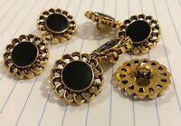 6pc Black & Gold Buttons 22mm Shank M016 AUSSIE SELLER