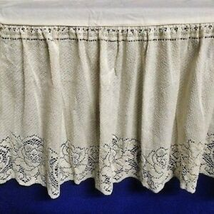 Twin Ivory Lace Bed Ruffle Victorian Rose Cotton Blend Split hemmed Corners