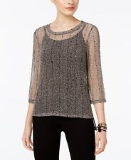 INC (MY8266-49) Sequined Open-Knit Illusion Top 2pc Sz S $69.50