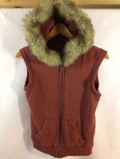 AEROPOSTALE Women's Faux Fur Hooded Sweater Zip Jacket Rust Orange Size Small