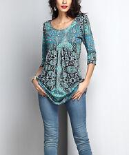 #487 Ladies Designer Size UK 16 Aqua Paisley Empire-Waist Tunic Dress rrp £21.99