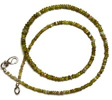 """Natural Gem Chrysoberyl Cats Eye Smooth 3 to 5MM Rondelle Beads Necklace 16.5"""""""
