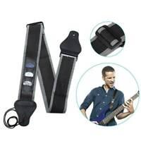 Black Guitar Strap Nylon Pick Holder with 3 Picks for Electric Acoustic Guitar .