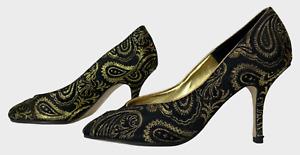 BERTIE Ladies Womens Shoes Size UK 6 EU 39 Black Golden Party Peeptoe Shoes