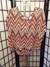 Women's Allison Brittney Red Black Gray White Geometric S/S Blouse Shirt M B17
