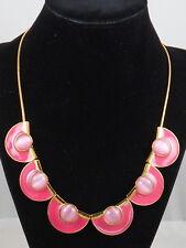 Kate Spade Gold TAKING SHAPES Pink Enamel Cat's Eye Scallop Collar Necklace $148