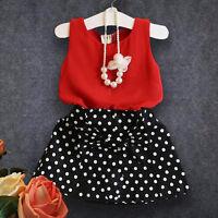 2PCS Toddler Kids Baby Girls T-shirt Tops+Shorts Skirts Dress Outfit Clothes Set