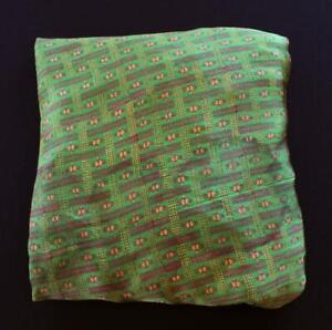 """VINTAGE 1960'S GREEN FLORAL PRINTED SILK SARI SOLD AS FABRIC 5 YDS X 44"""" W"""