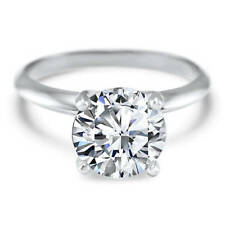 3 Ct Round Cut Diamond Solitaire Engagement Promise Ring Solid 14K White Gold