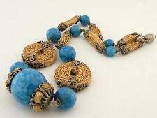 Antique Art Deco French Silver Plate & Woven Straw Blue Porcelain Bead Necklace