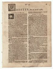 1760, april 26, Original French Gazette #17, English ship took by French frigate