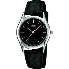 Casio Men's Black Leather Strap Watch, Black Dial, MTP1094E-1A