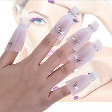 10x Stylish Plastic Nail Art Soak Off Clip Cap UV Gel Polish Remover Wrap Tool