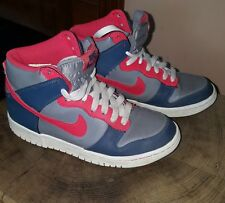 pink &grey high top lace up Nike trainers size uk 4.5