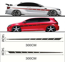 2x Car SUV Body Decal Graphic Stickers Matte Black Streamline Style 300cm x1 4cm