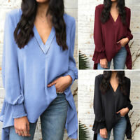 Plus Size Women Long Sleeve Jersey Tunic Top Ladies Loose V Neck Pullover Blouse