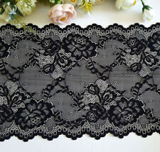 20.5 cm width Pretty Black Stretch Lace Trim