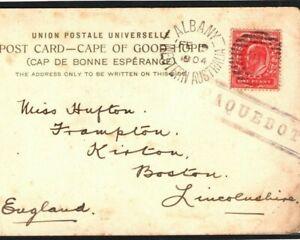 AUSTRALIA Card Rare Albany PAQUEBOT GB KEVII 1d Lincs Boston PPC 1904 Q35a