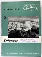 Original GaMi 16 Manual for Enlarger, 4 pages, no print date