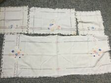 VINTAGE 4 PCS ANTIQUE EMBROIDERED LINENS  WITH TABLE DRESSER RUNNER SEE PHOTOS
