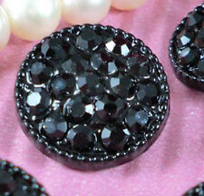 5 Sparkling 17mm Black Crystal/Rhinestone Round Silver Metal Shank Buttons H085