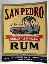 San Pedro New England Rum Label American Liquor Boston