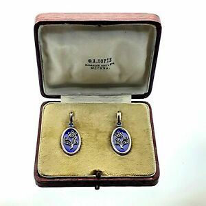 FABERGE Antique Imperial RUSSIAN Enamel Earrings with Diamonds and Sapphires