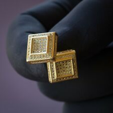 14K Yellow Gold Canary CZ Iced Men Square Hip Hop Screw Back Earrings