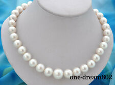 """18"""" 15mm round white freshwater pearl necklace 925silver clasp"""