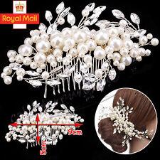Bridal Flower Hair Comb Diamante Crystal Pearls Wedding Clip Slide Headband Prom