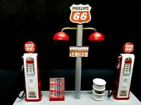 """ PHILLIPS 66 "" GAS PUMP ISLAND DISPLAY W/GAS PRICE SIGN, 1:18TH, HAND CRAFTED,"