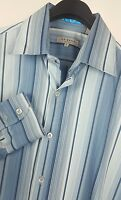 TED BAKER London Mens Blue Striped Long Sleeve Button Down Shirt size 4 Large L