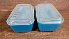 (2) Vintage Pyrex Turquoise o502 Refrigerator Dishes + (2) 502-C Ribbed Lids