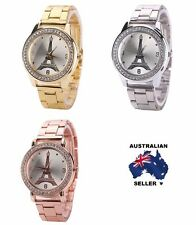NEW Womens Elegant Eiffel Tower Rhinestone Stainless Steel Wrist Watch + Case