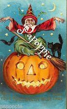 Fabric Block Vintage Halloween Postcard Image Witch Pumpkin