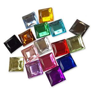 12mm Square Flatback Acrylic Crystal Rhinestone Embellishment Gem Decoden Craft