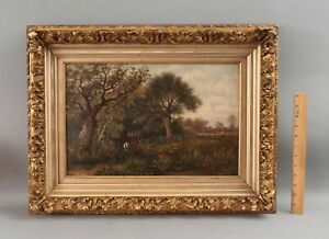 Antique Signed American Bucolic Country Cows Landscape, O/C Oil Painting, NR