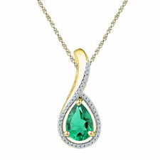 10kt Yellow Gold Pear Lab-Created Emerald Solitaire Diamond Pendant 2.00 Cttw