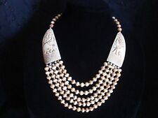 Beautiful Vintage Chunky 5 Strand Brown Elephant Carved Camel Bone Bead Necklace