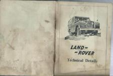 ORIGINAL LAND ROVER 18 PAGE 1962 ERA SMALL TECH SPECS booklet BROCHURE REF 590B