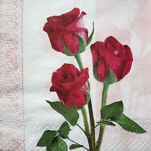 4 Paper Napkins Serviettes, Decoupage Napkins Red Roses Motif New