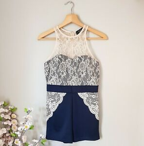 Asos AX Paris Ladies 10 Playsuit Navy Cream Lace Party Sleeveless Worn Once