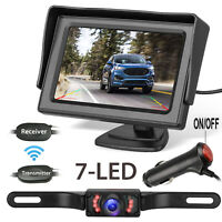"Wireless IR Rear View Backup Camera w/ Night Vision System+ 4.3"" TFT LCD Monitor"