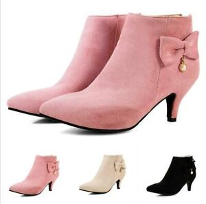 New Womens Kitten Heel Bowknot Pointy Toe Autumn Dress Ankle Boots Fashion Boots