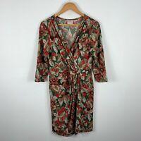 Leona Edmiston Womens Dress Size 12 Multicoloured Floral Long Sleeve V-Neck