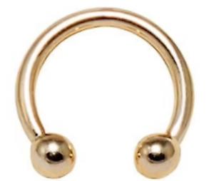 9ct Gold Barbell Eyebrow Nipple Septum 11mm Circular  9 CARAT YELLOW GOLD New