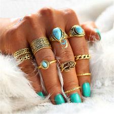 10Pcs Vintage Turquoise Stone Boho Rose Flower Knuckle Midi Ring Set Jewelry