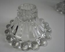 4 Anchor Hocking Boopy Glass Candlesticks with Balls Around Base