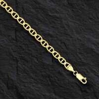 "14kt Solid Yellow Gold Anchor Mariner Link Bracelet 3.2 mm 7"""